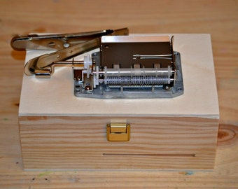 Pack DIY Music box: Mechanism 30 notes to make Your own melody and wooden box. Hand cranked mechanism.