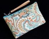 Paisley Wristlet - Floral wristlet - Turquoise wristlet - Paisley clutch - Handmade - Handbag - Wristlet with leather