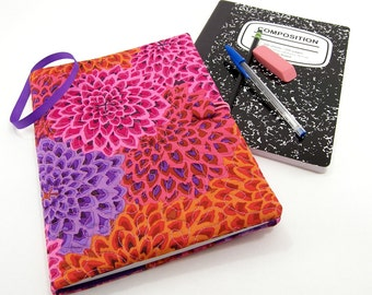 Flower Composition Notebook Cover, Reusable Fabric Journal Cover, School Notebook  - Pink Purple and Orange Flowers - Floral Notebook