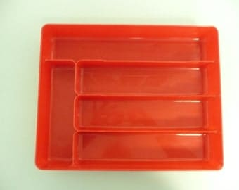 Vintage Shiny Red Silverware Cutlery Caddy Tray, Hard Plastic, Plas-Tex USA - Vintage Travel Trailer and Home Decor