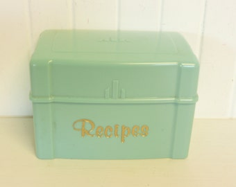 NICE Vintage Recipe Box, Aqua Turquoise, Like Lustro Ware, Art Deco Styling, Plastic File Box - Vintage Travel Trailer and Home Decor