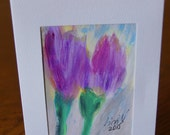 Colorful birthday card Hand painted card Handmade greeting card TULIPS painting card Hand painted greeting card Blank card