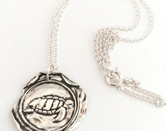 Sea Turtle Necklace, Wax Seal Necklace, Wax Seal Stamp Jewelry, Silver Turtle Necklace, Ocean Jewelry, Beach Jewelry, Sea Gift,