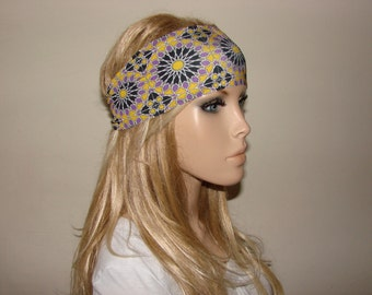 yoga headband - purple yellow turban headband - workout headband - excercice headband - fitness hair band - Woman boho head wrap