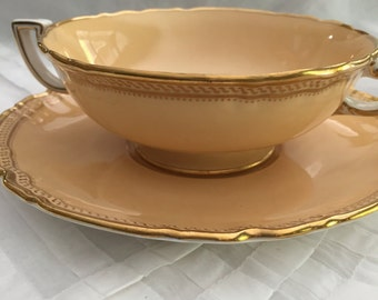 Vintage Bowls/Spode/10 Footed Soup Bowl Sets/Scalloped Underplate/Cream Soup/Circa 1929/Dinner Party/ Fancy Dishes/Gold Trim/Wedding Gift