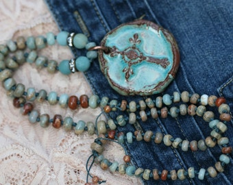 Floral Ceramic Necklace n8- blue boho knotted long necklace . beaded bohemian Celtic cross pendant bead . artisan ceramic . rustic jewelry