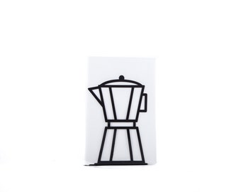 A Metal Kitchen bookend // Black Coffee pot // functional decor for modern kitchen // cookbook book holder // FREE SHIPPING worldwide /