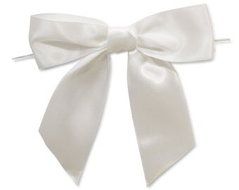 """White 5"""" Pre-tied Satin Bows With 6"""" Twist Ties~ 1-1/2"""" Ribbon-Set of 6"""
