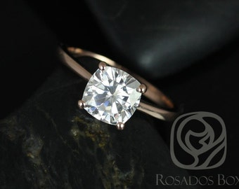 Rosados Box Skinny Florence 7.5mm 14kt Rose Gold Cushion F1- Moissanite Tulip Cathedral Solitaire Engagement Ring