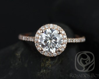 Rosados Box Kubian 7mm 14kt Rose Gold Round F1- Moissanite and Diamonds Halo Engagement Ring