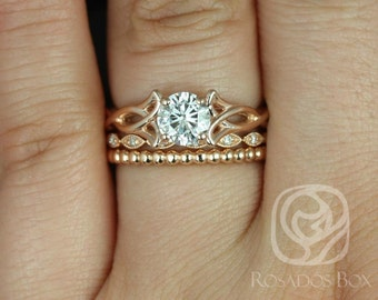 Rosados Box Orla 6mm, Ult Pt Leah, & Bdha Bds 14kt Rose Gold Round F1- Moissanite and Diamonds Celtic Knot TRIO Wedding Set