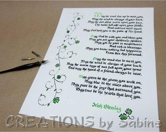 "May The Road Rise Up Irish Blessing Handwritten Calligraphy 11x14"" Ready To Frame Original Art Clover Ireland Traditional READY TO SHIP (2)"