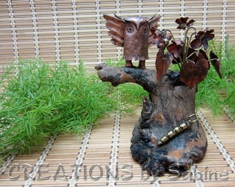 Woodland Owl Tree Sculpture Natural wood Bark Copper Brass Metal Caterpillar Art Rustic Flower Trunk Bark Branch Vintage FREE SHIPPING (512)