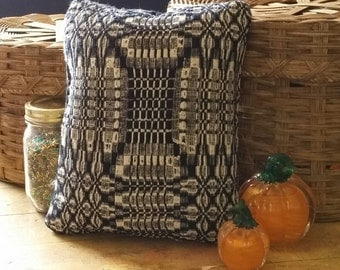 No. 46 Decorative Pillow, Green Street Antique Woven Coverlet