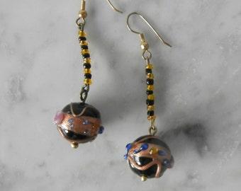 Vintage Earrings, 1980s Earrings, Purple Earrings, Glass Drop Earrings, Bauble Earrings, Dangle Earrings, Ball Earrings, Retro Earrings