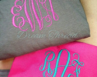 Left chest monogram tee, T-shirt, monogram T-shirt, women, girls, preppy, gift, sorority (made to order)