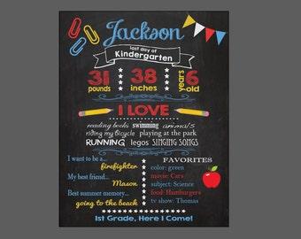 Last Day of School sign printable chalkboar CUSTOMIZED digital lastday of kindergarten preschool Memories Chalk Board poster
