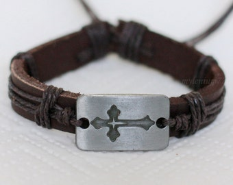 008 Men's brown leather bracelet Cross bracelet Charm bracelet Men bracelet Religious jewelry bracelet Holiday gift For men and women