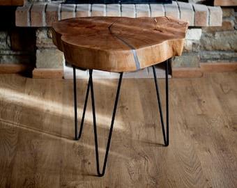 Coffee Table Side Table Industrial Table Metal Wood Vintage Table Maple Wood Hallway Table Media Stand