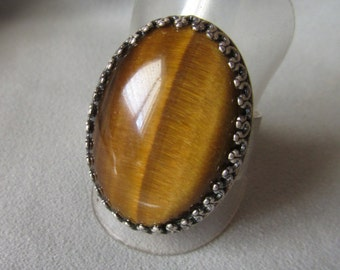 Tiger Eye Silver ring - Crown Bezel ring