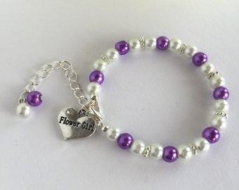Purple Flower Girl Bracelet, Gifts For Flower Girl,Girls Jewelry, Will You Be My Flower Girl, Little Girls Jewelry, Ring Bearer Gift, Chil