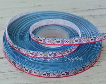 """3/8"""" Ribbon by the Yard-Character ribbon-Alice in Wonderland-stripe grosgrain-supplies by ribbon lane supplies on Etsy"""