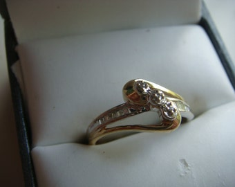 Vintage Engagement Ring In Two Tone Gold