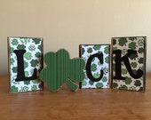 St. Patricks Day decor, Wood LUCK Blocks, St Patricks Day Blocks, home decor, Wood block letters, wood block sign, shamrock, 4 leaf clover