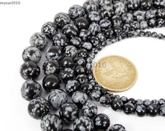 Natural Snow Flake Obsidian Gemstone Round Beads 16''  4mm 6mm 8mm 10mm 12mm Great For Jewelry Design
