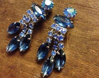 Juliana Style Blue Rhinestone Clip On Earrings