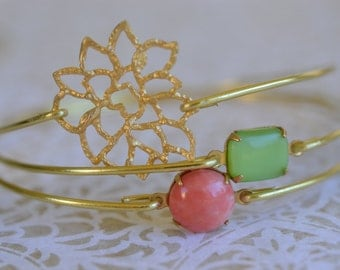 Lotus Bangle Bracelet Set- Gold Bangles- Peridot Bracelet- Rose Pink Bangle- Lotus Bangle- Bridesmaids Gifts- Bangle Bracelet Sets