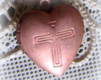 17MM Hinged Double Sided Copper Heart Locket with Religious Cross Crucifix