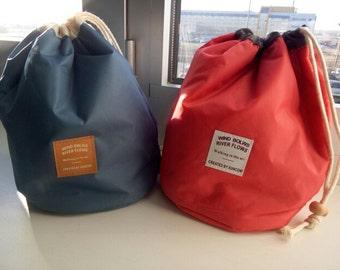 Project bag set, medium. Bucket bag + 2 notions pouches. Knitting bag, crochet carry-all, yarn bag.