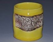 Yellow ceramic tumbler cup, stained abstract texture, fun to hold cup, Holidays gift,  housewarming gift