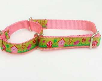 """3/4"""" Martingale with Birds, Birdhouses, Lime, Green and Pink"""