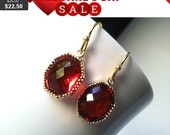 Ruby Red Gold Earrings - Earrings,Drop, Dangle, bridesmaid gifts,Wedding jewelry,Vintage Earrings,mother's day Gift