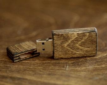"""Fast USB 3.0 - 8gb-16gb-32gb Wood USB 3.0 flash drive. Stain color """"Dark Walnut"""""""