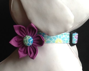 Dog Collar Flower Set - Colorful Flower Print  - Size XS, S, M, L, XL