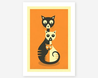 3 CAT'S, Minimal Wall art for the home decor, Giclee Fine Art Print by Jazzberry Blue