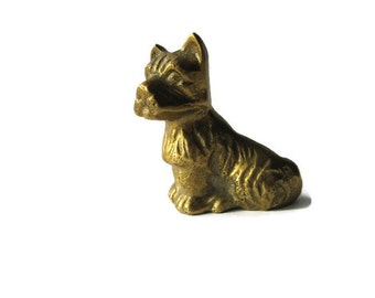 brass figurine, Scottie dog, Scotty dog, solid brass, 1930's