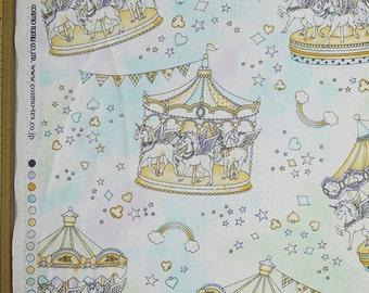 Cute Merry Go Round Print Japanese Light Blue - 110cm x 50cm
