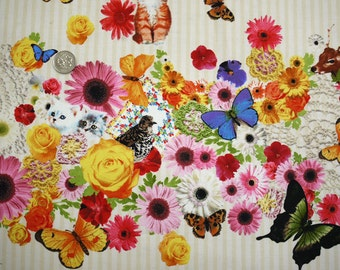 Candy Party / Butterflies and Cats Japanese Fabric - 110cm x 50cm