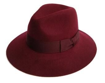 Classic bourdeaux fedora hat , Womens fedora hat , Fedora felt hat , Winter Felt Hat , Fedora  , Fedora hat , Wide brim fedora