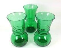 Three Emerald Green Vases - Harding by Anchor Hocking - Modern Glass Vases