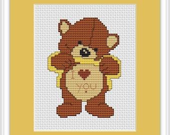Love Me Bear Cross Stitch Kit By Luca S Ideal For Beginner 7.5cm x 10cm