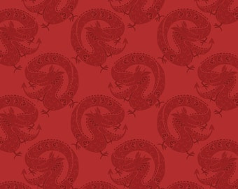 Fat Quarter Chinese Dragons on Red 100% Cotton Quilting Fabric Minshan