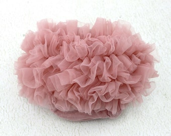 Vintage Pink Ruffle Baby Bloomers / Ruffle Bloomers / Baby Chiffon Bloomers / Diaper cover / Baby Photo Prop / Ruffle Bum Baby Bloomer