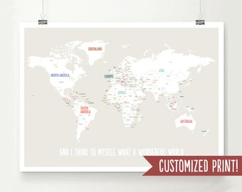 Customized World Map, World Map, World Map Poster, World Map Print, Personalized Map, Travel Art, Travel Decor, Wedding Gift, Baby Shower