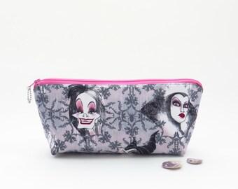 SALE - Black zipper bag, black zipper pouch, evil women bag, female villains pouch, black cosmetic bag, black white bag, travel pouch