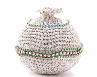 Rosh Hashana Gift, Table decoration, Gold & White Croshet Pomegranate, Swarovski decoration, Gift from Israel